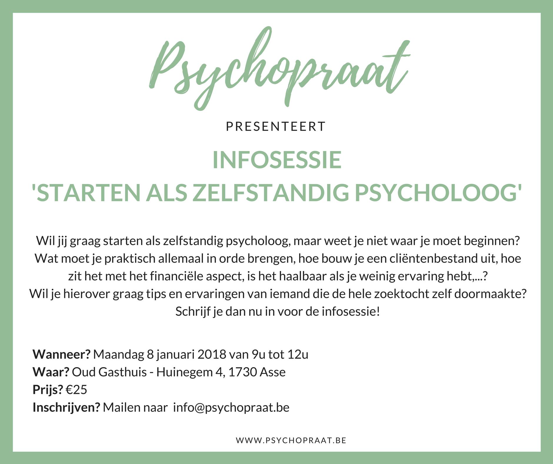 Infosessie starten als zelfstandig psycholoog